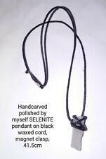 Lovely Unique handcut/polish SELENITE pendant on black waxed cord, 41.5cm