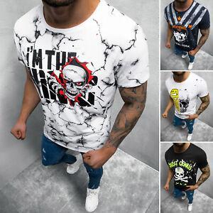 T-Shirt Tee Rundhals Kurzarm Shirt Motiv Aufdruck Fitness Herren OZONEE 6017 MIX