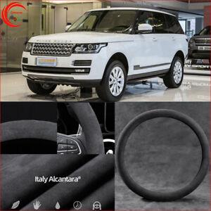 For Range Rover Evoque Steering Wheel Cover Black Alcantara Suede Safe Non-Slip
