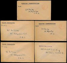 GB 1920s ELECTION COMMUNICATION 5 ENVELOPES 2 with NORWOOD PAID to GEORGE KING