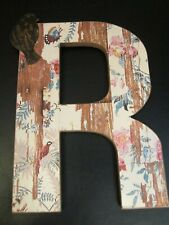 "Decorative Initial ""R"" Plaque, Birds and Butterflies, 12"", New"