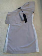Ladies Brand New AQ/AQ Stone/White Andes Mini One Shoulder Dress (UK12)