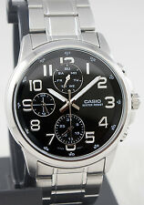 Casio MTP-E307D-1A Men's Black 3 Dials Watch Modern Stainless Steel New Model