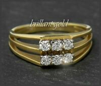 Diamant Damen Ring, 585 Gold, 0,38ct lupenreine- Brillanten, Vintage um 1950