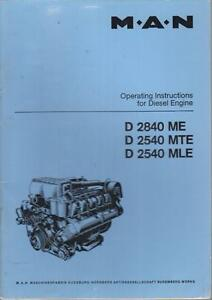 MAN D2840ME D2540MTE D2540MLE 10-CYL DIESEL ENGINE OPERATING INSTRUCTIONS MANUAL