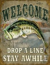 "Welcome Bass Fishing Rustic Outdoors Tin Metal Sign, 12.5"" W x 16"" H"