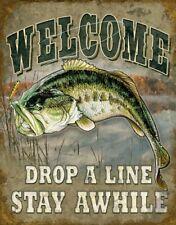 "Welcome Bass Fishing Tin Metal Sign, 12.5"" W x 16"" H"