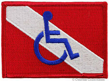 DISABLED SCUBA DIVER DOWN FLAG - IRON-ON PATCH Embroidered Handicapped Dive Logo