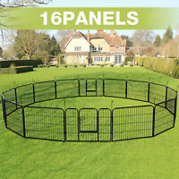 16 Panel Heavy Duty Metal Fence Cage Pet Dog Exercise Playpen Kennel In&Outdoor