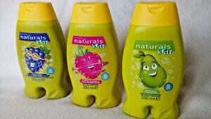 AVON NATURALS ~ 3 x KIDS BATH & BODY WASHES 250ml each. PEAR, STRAWBERRY & GRAPE