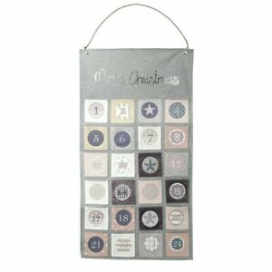 Heaven Sends Christmas Grey & Pink Reuseable Fabric Advent Calendar Wall Hanging