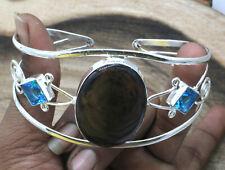 """Plated Jewelry Cuff Bracelet S-7-8"""" Obsidian Eye & Topaz Gemstone Silver"""