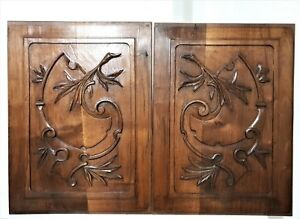 Pair scroll leaves decorative carving panel Antique french architectural salvage