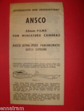 Ansco Information & Instructions leaflet 35mm films for Miniature Cameras vtg