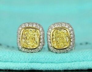 $25500 Tiffany Co 1.91ct Fancy Intense Yellow Cushion Pave Diamond Stud Earrings