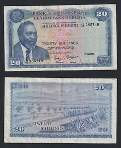 Kenya - 20 shillings 1971 (Signature 3) BB/VF  B-08