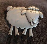 Vintage JJ Jonette Pewter silvertone Sheep Brooch with Articulated swinging Legs