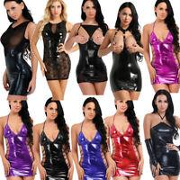 S-5XL Women's Latex Leather Sleeveless Short Mini Dress G-string Skirts Clubwear