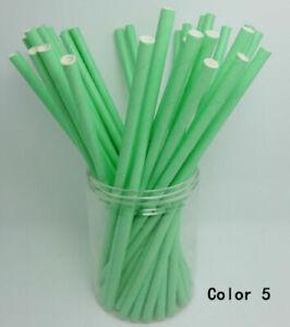 100PCS Paper Straws Solid Green Birthday party Christmas Xmas Restaurant Straw