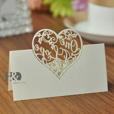 36pcs Ivory Table Place Name Cards For Wedding With Delicate Heart Shaped Design