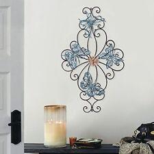 Metal Scroll Wall Decor Flower Butterfly Home Design Wrought Iron Wall Art Piece