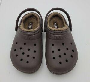Kids Boys Girls Brown Crocs Fur Lined Slip On Shoes Clogs Size 13 C