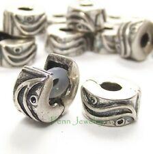 Antique Silver Tone Wave Clip On Stopper Lock Bead for European Charm Bracelet