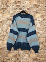 VINTAGE RETRO 90'S BOLD ABSTRACT WINTER WOOL COSBY CREW JUMPER MENS LARGE #309