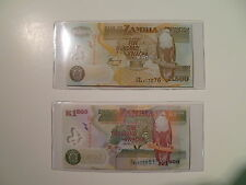 SET OF 2- 2008 ZAMBIA POLYMER BANKNOTES 500 KWACHA AND 1000 KWACHA, FREE HOLDERS
