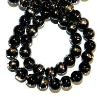 G1524 Black Opaque 8mm Round Silver Metallic Drawbench Swirl Glass Bead Strand