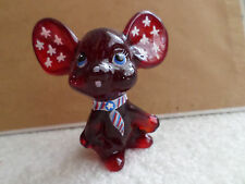 FENTON ART GLASS RUBY RED MOUSE FIGURINE WITH PATRIOTIC DESIGN