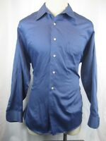 Men's Geoffrey Beene Sateen Cotton LS Blue Casual Shirt size 17-34/35