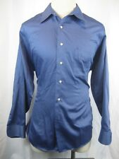 Men's Geoffrey Beene Sateen Cotton LS Blue Casual Shirt size 17-34/35