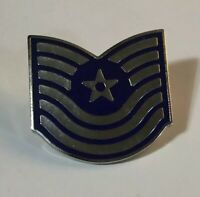 Pair Of US AIR FORCE MASTER SGT USAF Military Rank Pin E7 (2 Pins) Blue Silver