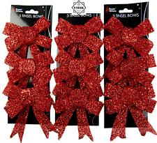 Noël paillettes nœud décorations-pré-attaché pour arbre//cadeaux//table-rose
