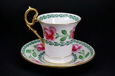 RARE, Early Aynsley Hand Painted Cabbage Roses Green Leaves Gold Cup and Saucer