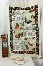 Vtg 1979 All Linen Butterfly Wall Hanging Calendar Textile New in Original Box