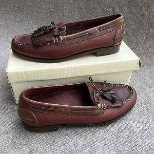 Cole Haan Country Shawl Mens 10C Leather Kiltie Tassel Loafers 3165 Redwood NIB