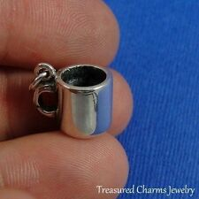 .925 Sterling Silver COFFEE MUG CHARM Hot Beverage Tea Cup PENDANT