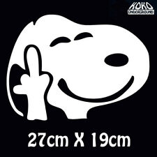 Rude Funny Snoopy Finger Sticker Decal for Home Wall Car Ute Large 27cm