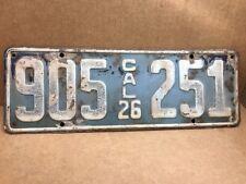 DMV CLEAR RARE•1926•(CALIFORNIA) 905-251  LICENSE PLATE-VINTAGE-ORIGINAL