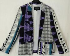 RIVER ISLAND SIZE 12 BLACK/WHITE PURPLE CROPPED L/S JACKET WORN ONCE FREE P&P