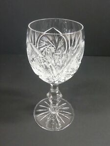 American Cut Barbara Pattern Crystal Stemware Wine Glasses Pinwheel Fan Design
