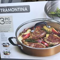 TRAMONTINA 3 PC Non-Stick EverydayPan Set.5.5 Qt -Pan,Insert&Lid Made in USA