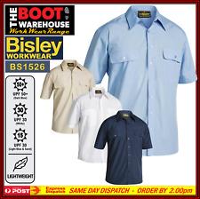 Bisley Mens Work Shirt BS1526 Permanent Press Short Slv. Lightweight BIG SIZES!