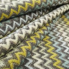 Multicolour Grey Green Blue White Chevron Stripe Soft Chenille Upholstery Fabric