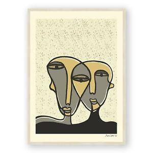 Abstract Face Framed Art, Minimalistic Line Art Print ,Boho Bed Room Decor