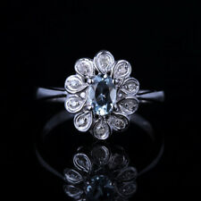 Sterling Silver Oval 6x4mm Lightest Blue Aquamarine Diamonds Wedding Party Ring
