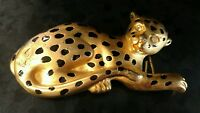 Doreen Ryan Leopard Belt Buckle Cat Gold Black Diamond Stone eyes nice