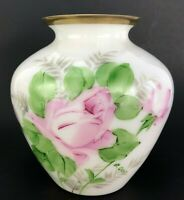 B Graff Vase Hand Blown Hand Painted Antique Milk Glass Floral Signed Pink Roses